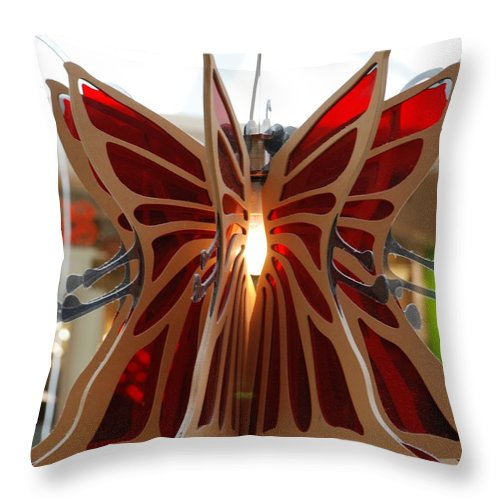 Butterfly Throw Pillow featuring the photograph Hanging Butterfly by Rob Hans