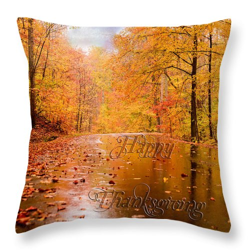 Happy Thanksgiving Greeting Card. Autumn Throw Pillow featuring the photograph Happy Thanksgiving by Mary Timman