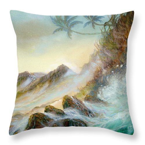 Hawaii Seascape Throw Pillow featuring the painting Hawaii Seascape by Leland Castro