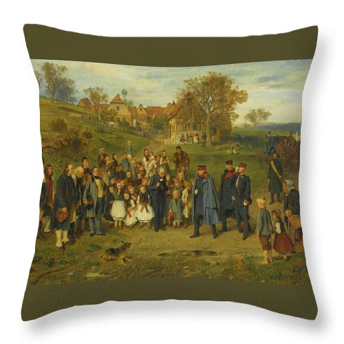 Ludwig Knaus - His Highness On A Journey - 1867 Throw Pillow featuring the painting His Highness On A Journey by Ludwig Knaus