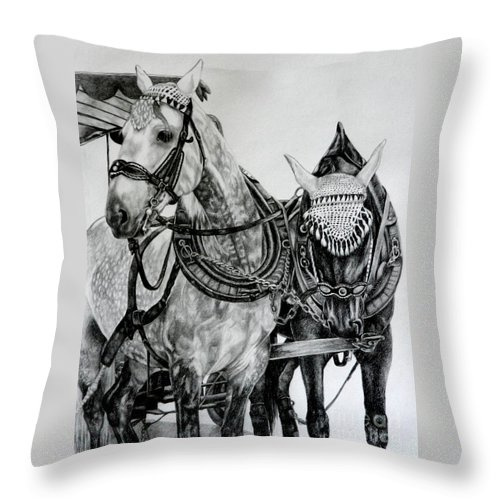 Horse Pencil Black White Germany Rothenburg Throw Pillow featuring the drawing 2 Horses Of Rothenburg 2000usd by Karen Bowden