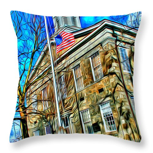 History Throw Pillow featuring the digital art Howard County Courthouse by Stephen Younts