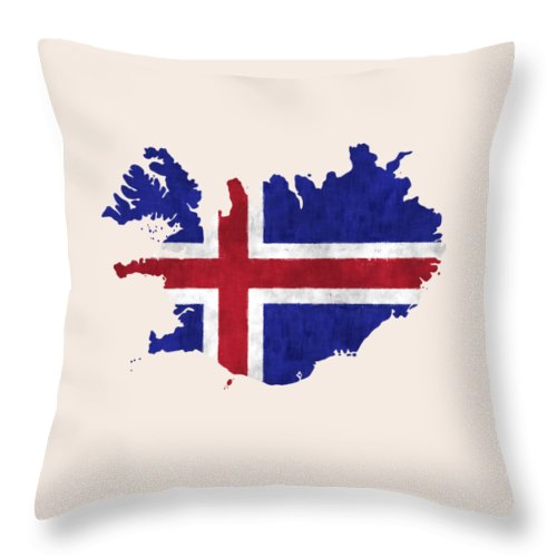 Iceland Throw Pillow featuring the digital art Iceland Map Art With Flag Design by World Art Prints And Designs