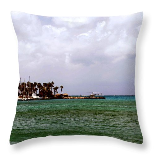 Harbor Throw Pillow featuring the photograph Island Harbor by Gary Wonning