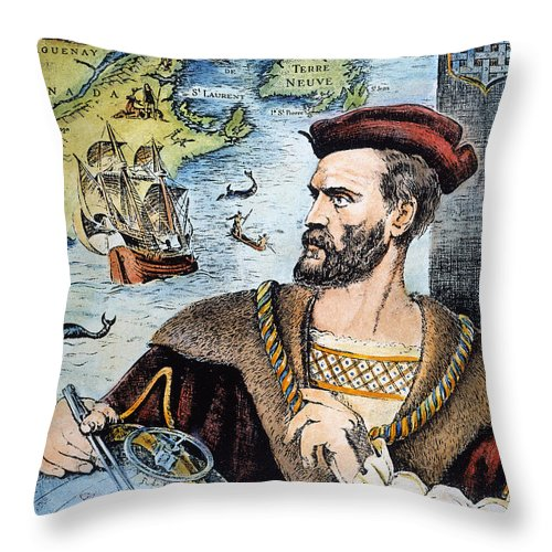 16th Century Throw Pillow featuring the photograph Jacques Cartier (1491-1557) by Granger