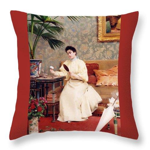 Georges Croegaert Throw Pillow featuring the painting La Toilette by Georges Croegaert