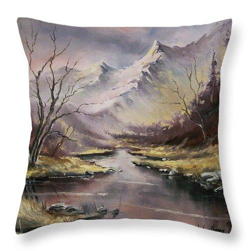 Original Landscape Oil Painting Throw Pillow featuring the painting Landscape by Michael Lang