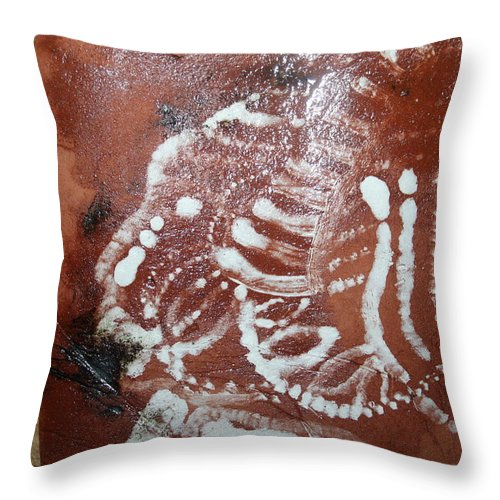 Jesus Throw Pillow featuring the ceramic art Last One - Tile by Gloria Ssali