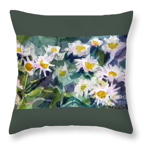 Flowers Throw Pillow featuring the painting Little Asters by Jan Bennicoff
