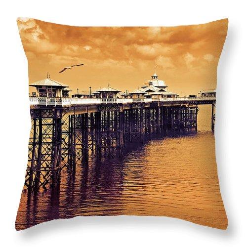 Llandudno Throw Pillow featuring the photograph Llandudno Pier North Wales Uk by Mal Bray