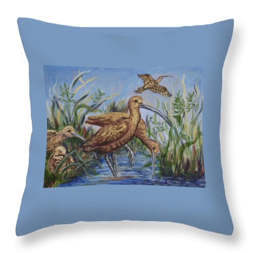 Bird Throw Pillow featuring the painting Longbilled Curlews by Dawn Senior-Trask