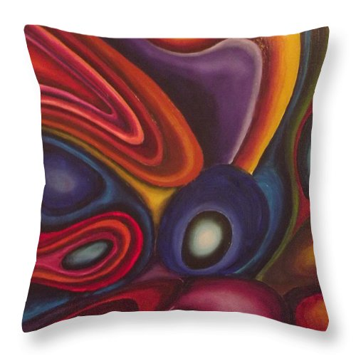 Oil Paintings Throw Pillow featuring the painting Looking For Honey by Bernie Bishop