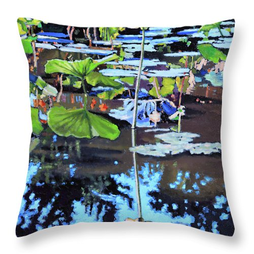 Garden Pond Throw Pillow featuring the painting Lotus Reflections by John Lautermilch