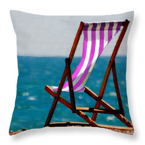 Beach Throw Pillow featuring the painting Lounging In Long Beach by Bruce Nutting