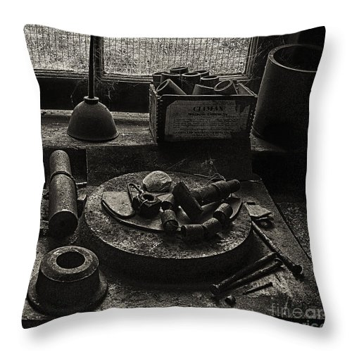 East Broad Top Throw Pillow featuring the photograph Machine Shop Window Still Life 2 by ELDavis Photography