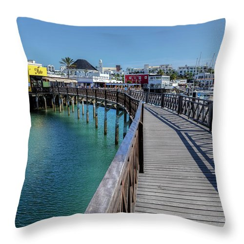 Marina Rubicon Throw Pillow featuring the photograph Marina Rubicon - Lanzarote by Joana Kruse