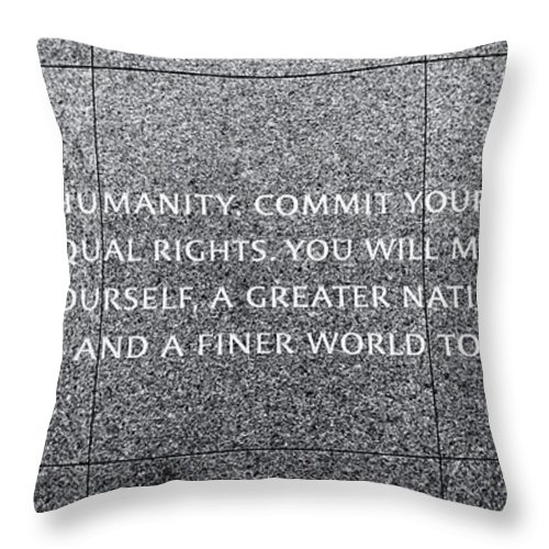 Martin Luther King Memorial Throw Pillow featuring the photograph Martin Luther King Jr Quote # 4 by Allen Beatty