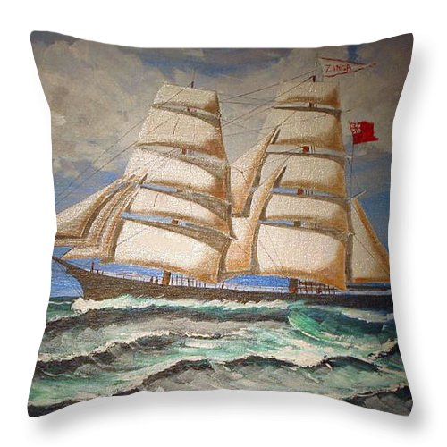 Tall Ship Throw Pillow featuring the painting 2 Master Tall Ship by Richard Le Page