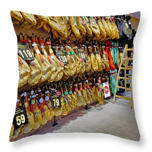 Meat Market Throw Pillow featuring the photograph Meat Market In Palma Majorca Spain by Richard Rosenshein