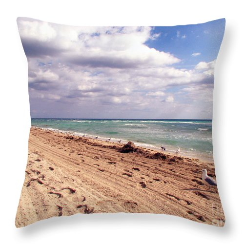 Beaches Throw Pillow featuring the photograph Miami Beach by Amanda Barcon