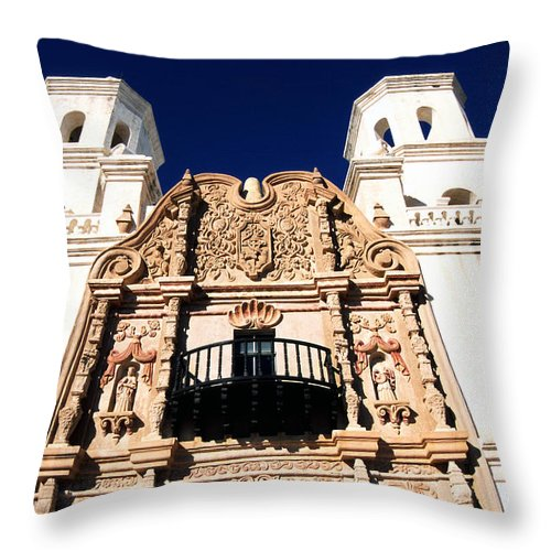 Mission San Xavier Del Bac Throw Pillow featuring the photograph Mission San Xavier Del Bac Tohono O Odham Indian Reservation by Thomas R Fletcher