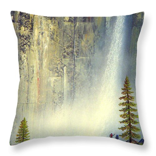 Landscape Throw Pillow featuring the painting Misty Falls by Frank Wilson