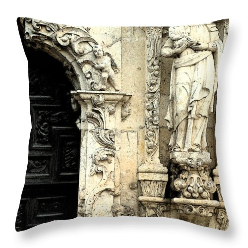 Missions Throw Pillow featuring the digital art Mother Mary And Jesus by Mark Grayden