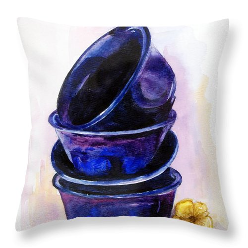 Painting Throw Pillow featuring the painting Mugs by Anju Saran