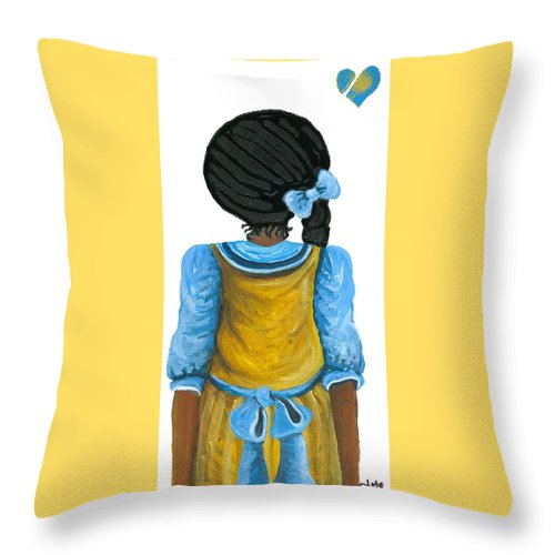 Throw Pillow featuring the painting Jeanie by Sonja Griffin Evans