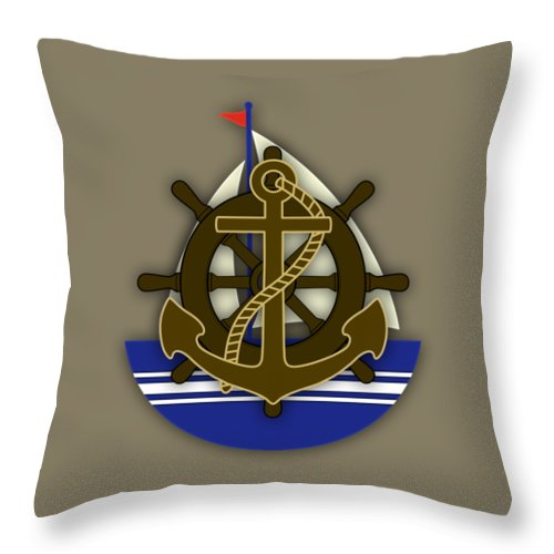 Sailing Throw Pillow featuring the mixed media Nautical Collection by Marvin Blaine