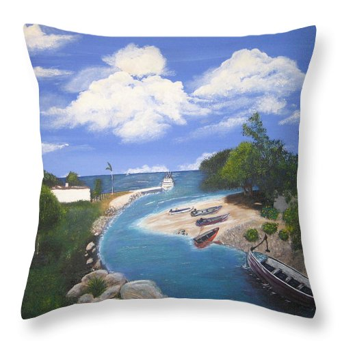 Negril Throw Pillow featuring the painting Negril Jamaica by Debbie Levene