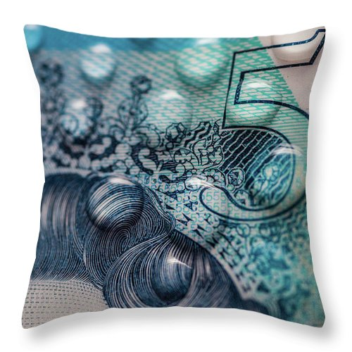 Five Throw Pillow featuring the photograph New Uk Five Pound Note by Samuel Whitton