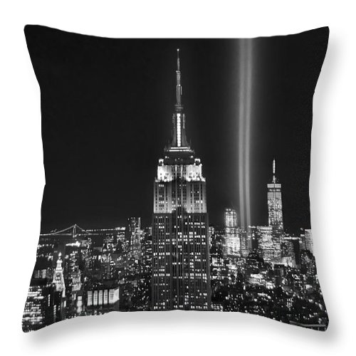 New York City Skyline At Night Throw Pillow featuring the photograph New York City Tribute In Lights Empire State Building Manhattan At Night Nyc by Jon Holiday