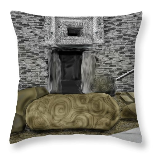 Newgrange Throw Pillow featuring the painting Newgrange Ireland by Anne Norskog