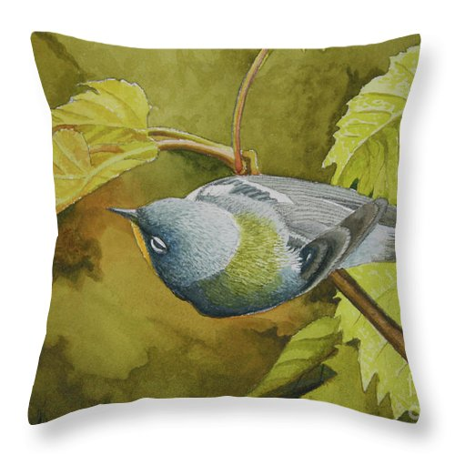Bird Throw Pillow featuring the painting Northern Parula by Charles Owens