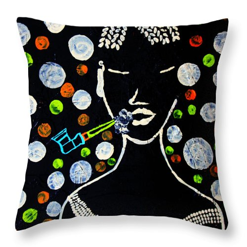 Jesus Throw Pillow featuring the painting Nuer Lady With Pipe - South Sudan by Gloria Ssali