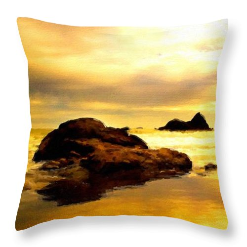 A Throw Pillow featuring the digital art Oil Canvas Landscape by Malinda Spaulding