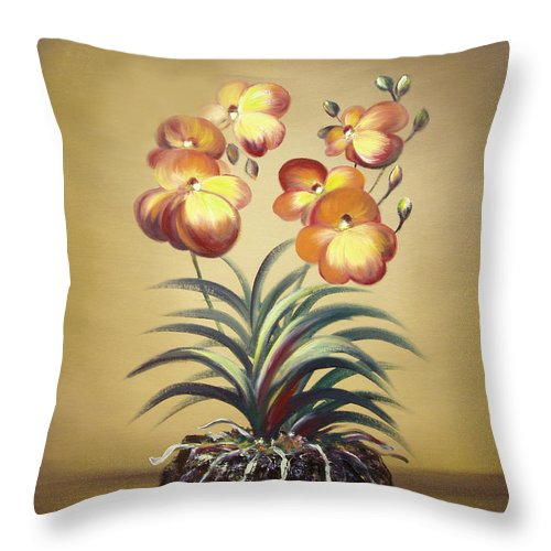 Orange Throw Pillow featuring the painting Orange Orchid Flowers by Gina De Gorna