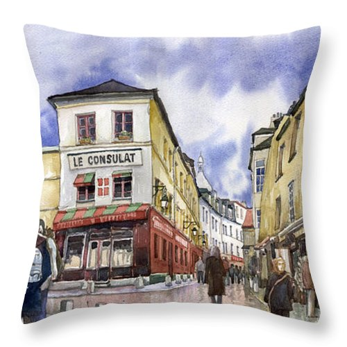 Watercolour Throw Pillow featuring the painting Paris Montmartre by Yuriy Shevchuk