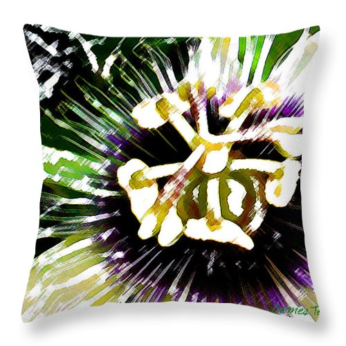 Passion Fruit Flower Throw Pillow featuring the digital art Passion Flower by James Temple