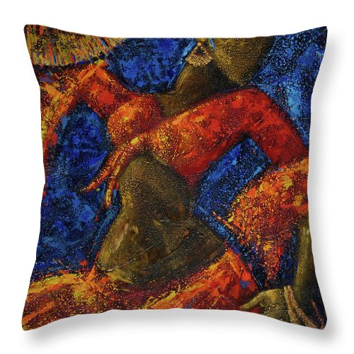 Dancer Throw Pillow featuring the painting Passion by Oscar Ortiz