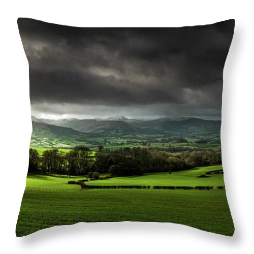 Corn Du Throw Pillow featuring the photograph Pen Y Fan And Brecon Beacons Panorama by Nigel Forster