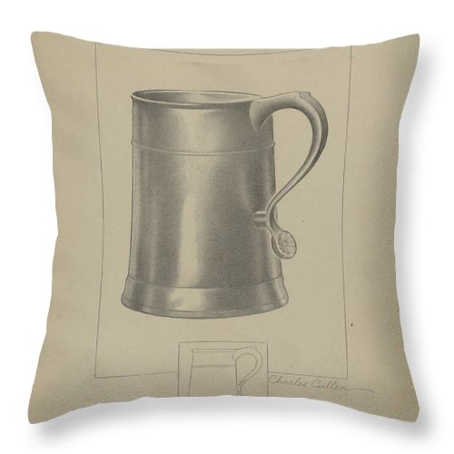Throw Pillow featuring the drawing Pewter Mug by Charles Cullen