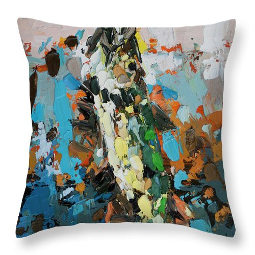 Pike In Action Throw Pillow featuring the painting Pike In Action by Mentor Berisha