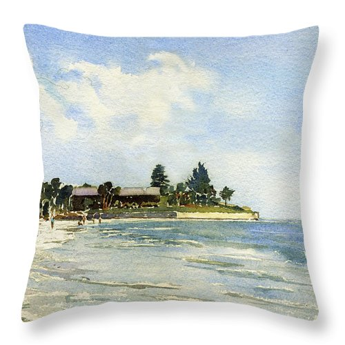 Siesta Key Throw Pillow featuring the painting Hobie Cat At Point Of Rocks, Siesta Key by Shawn McLoughlin