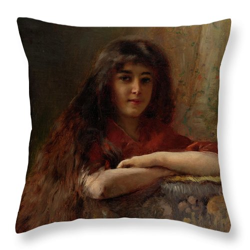 Makovsky Throw Pillow featuring the painting Portrait Of A Young Girl by MotionAge Designs