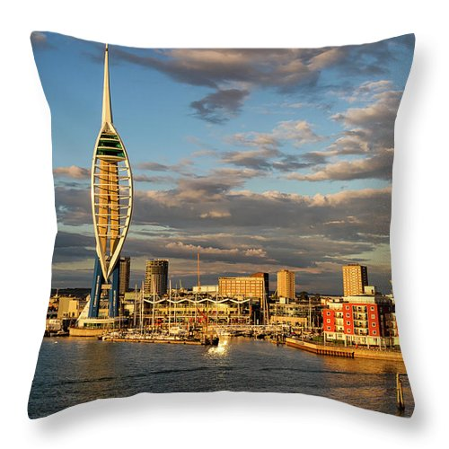 Harbor Throw Pillow featuring the photograph Portsmouth Harbour England by Shirley Mitchell