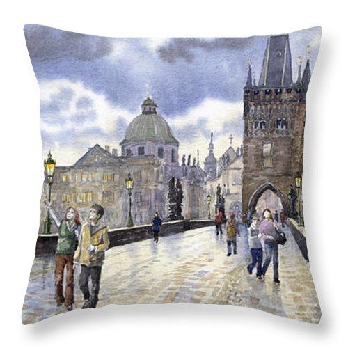 Watercolour Throw Pillow featuring the painting Prague Charles Bridge by Yuriy Shevchuk
