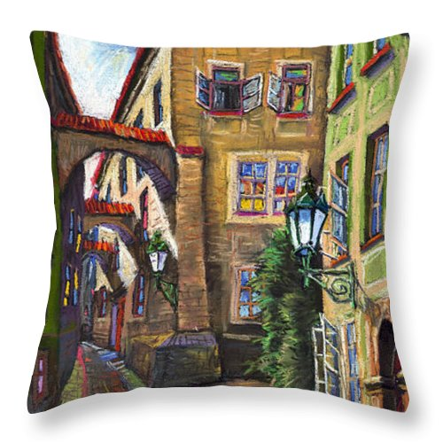 Prague Throw Pillow featuring the painting Prague Old Street by Yuriy Shevchuk
