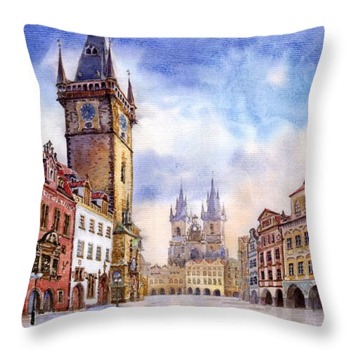 Watercolour Throw Pillow featuring the painting Prague Old Town Square by Yuriy Shevchuk